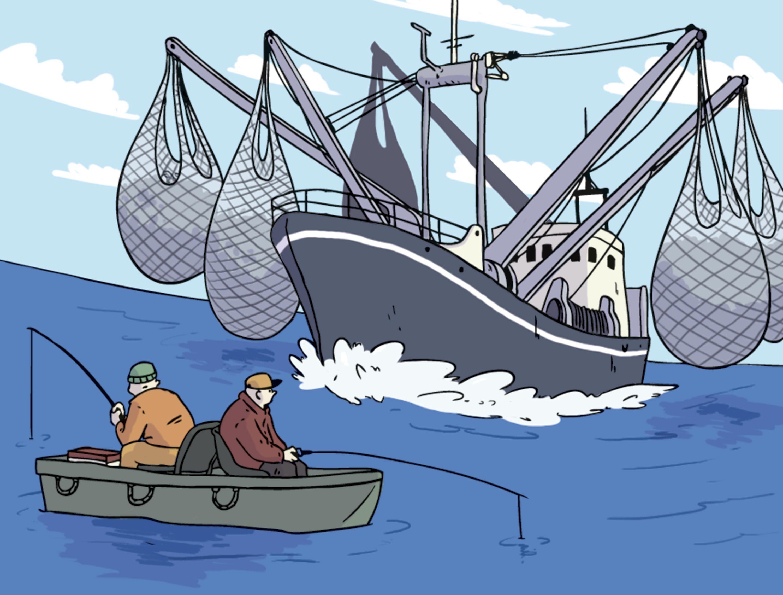 Une caricature de l'exploitation des ressources halieutiques.
