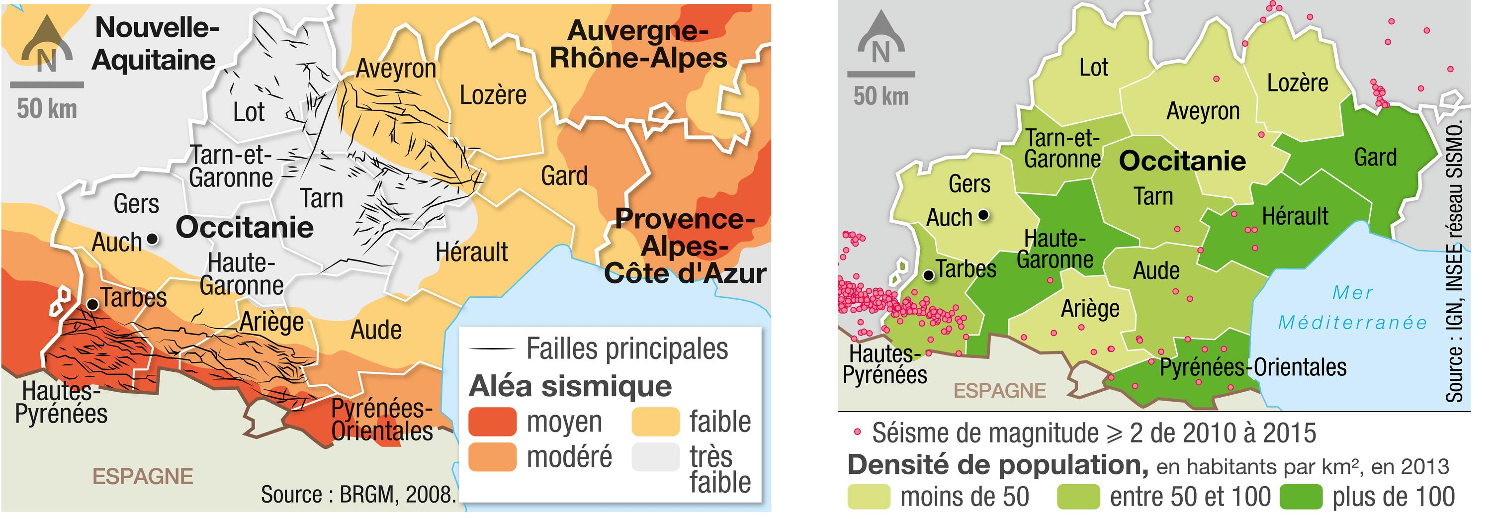 Les cartes des aléas sismiques et de la densité de population en Occitanie.