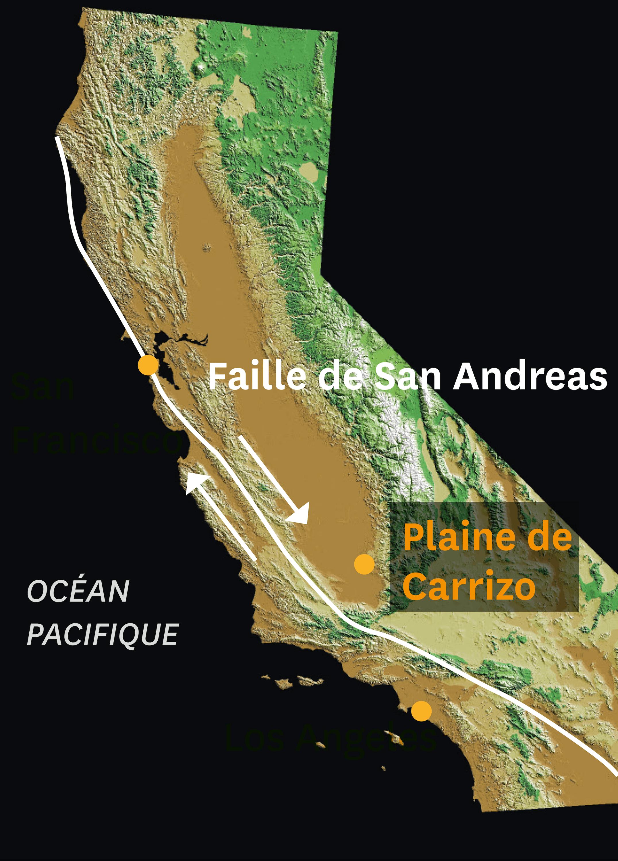 Image satellitaire montrant la faille de San Andreas.