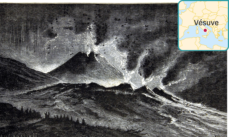 Un croquis de l'éruption du Vésuve de 1858 par l'abbé C. Chevalier.