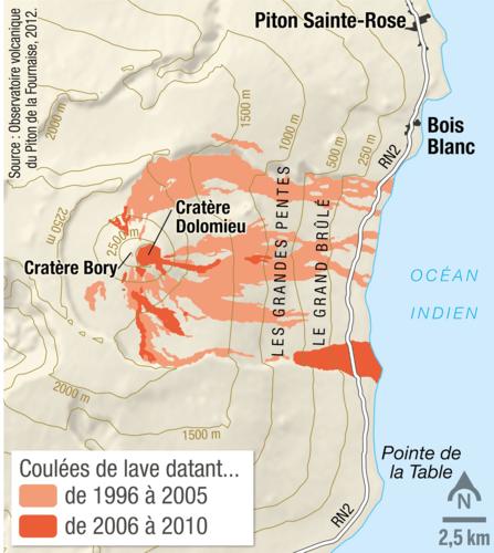 La Carte Des Coulees De Lave Du Piton De La Fournaise Sur L Ile De