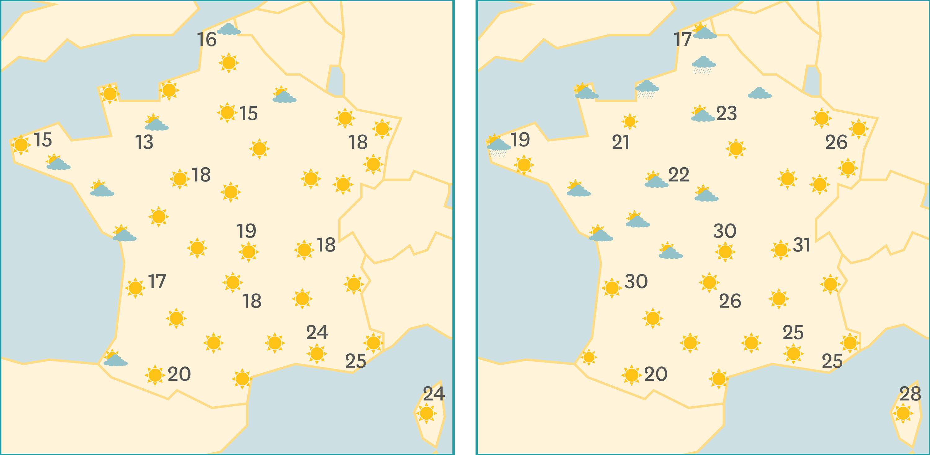 Les cartes de prévisions des 7 et 8 aout 2016.