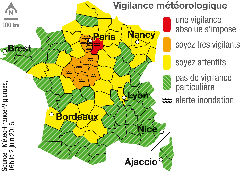 Carte de vigilance météorologique du 2 juin 2016.