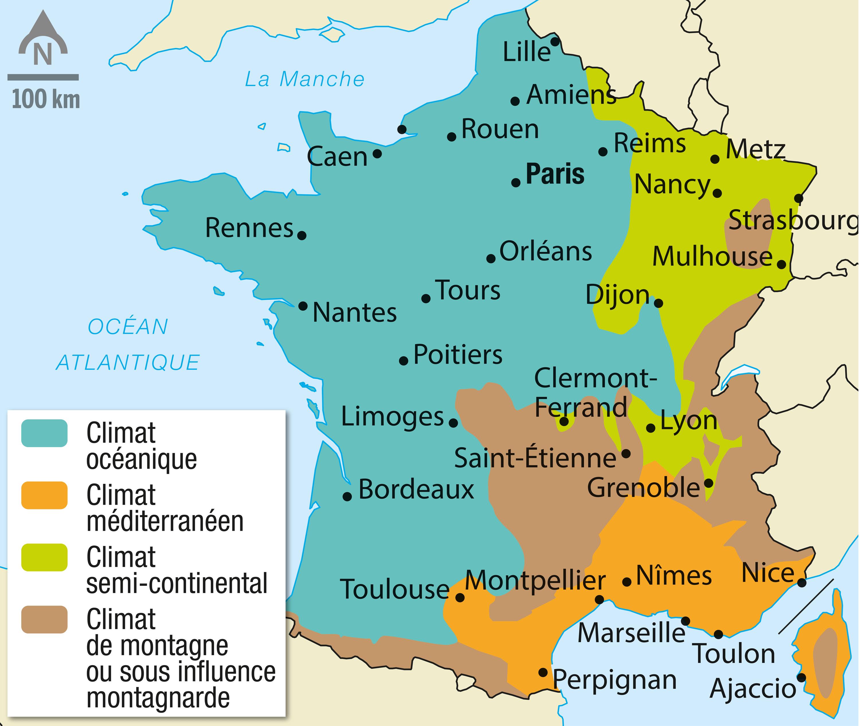 Les zones climatiques de la France métropolitaine.