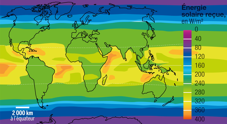 L'énergie solaire reçue à la surface de la Terre.