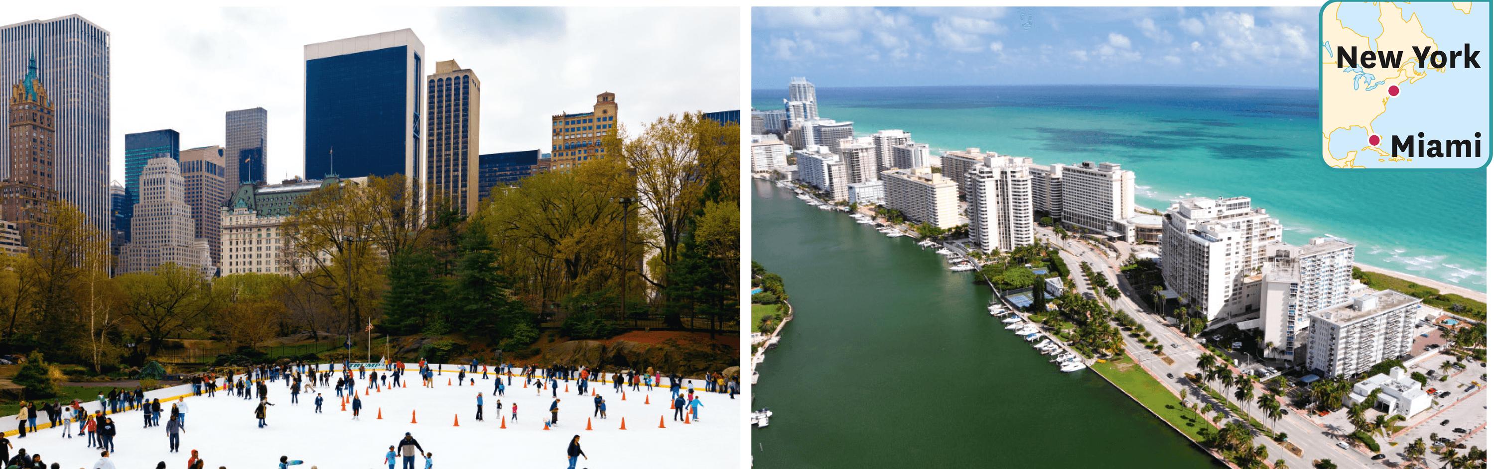 New York et Miami un 1er janvier.
