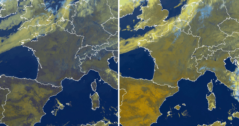 Les images satellites du 7 aout 2016 à 8 h 30 et 13 h.