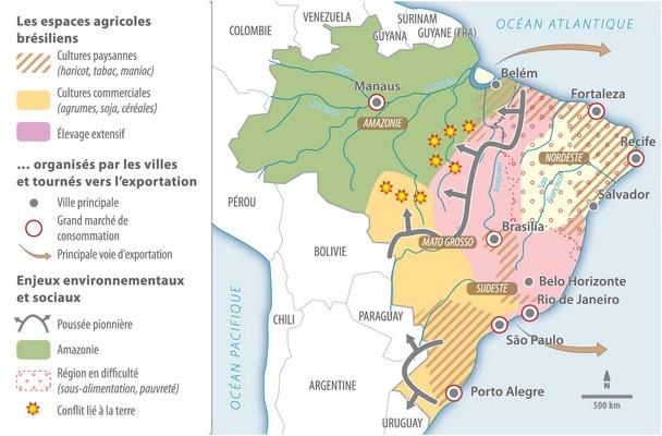 Carte Du Bresil Agriculture.Le Bresil Geant Agricole Lelivrescolaire Fr