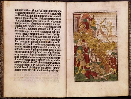 Livre illustré : l'image était gravée sur bois en relief, puis coloriée à l'aquarelle