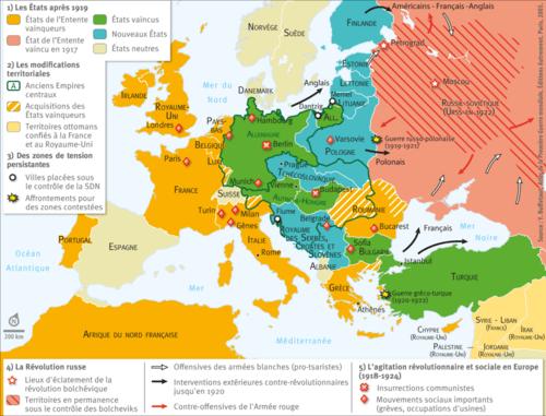 Carte De Leurope Apres La 1ere Guerre Mondiale.L Europe Au Lendemain De La Premi Egrave Re Guerre Mondiale