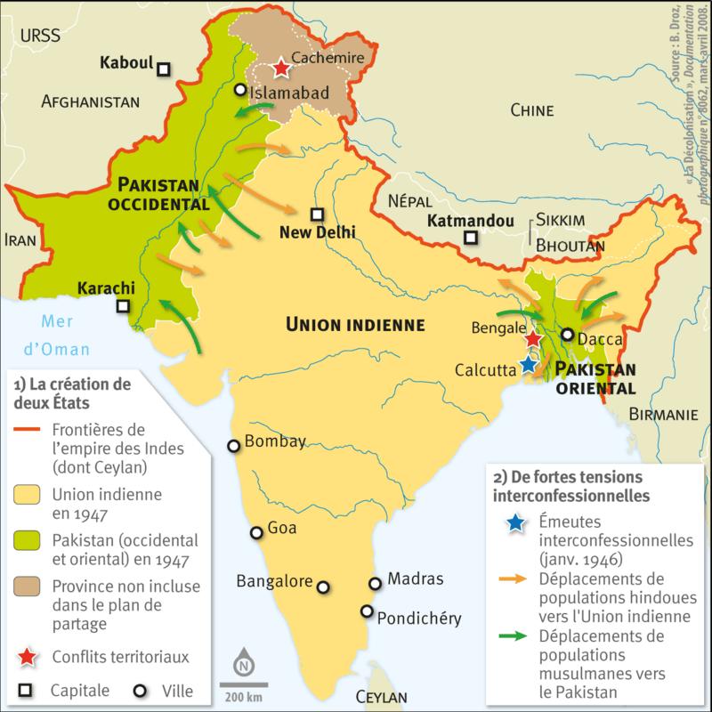 Carte Du Partage De Linde En 1947.La Partition De 1947