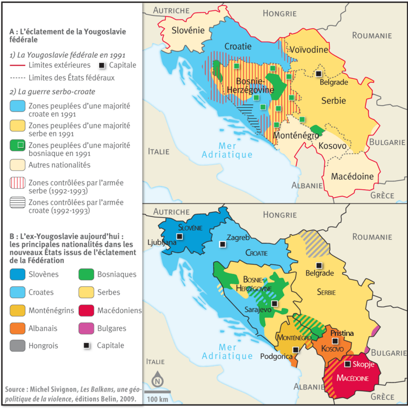 Carte Yougoslavie 1991.L Eclatement De La Yougoslavie 1991 1999 Lelivrescolaire Fr
